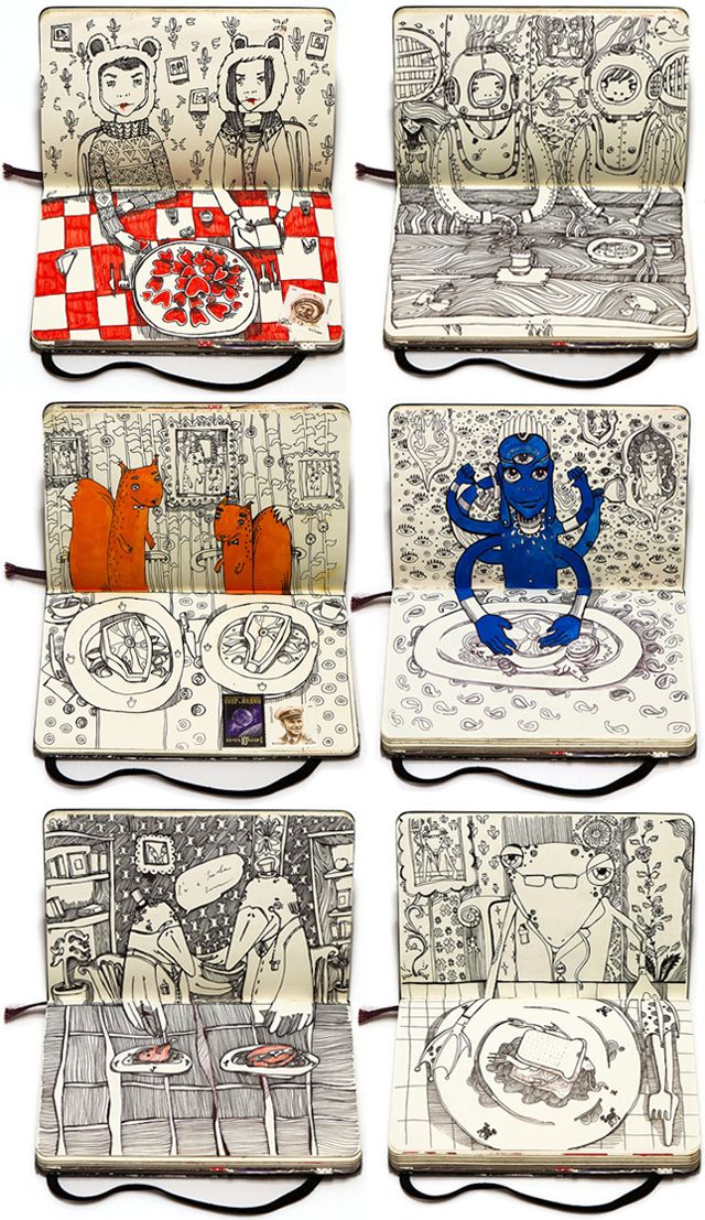 Moscow-based artist Nataliya Platonova has filled her Moleskin notebook with a cast of eclectic characters feasting on dinner
