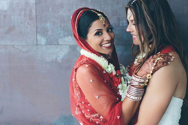 Gorgeous photography in this lesbian Indian fusion wedding.
