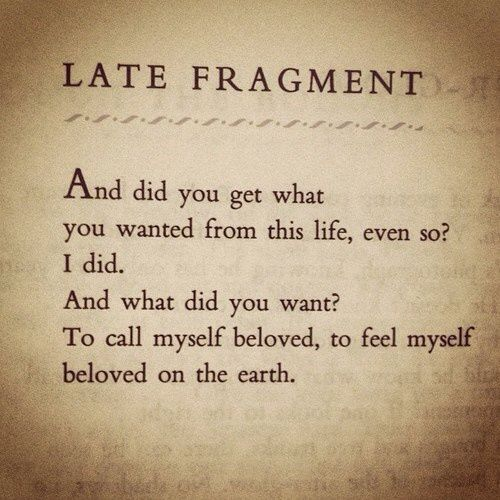Late Fragment, beloved upon this earth. Raymond Carver