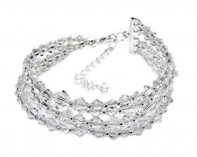 Bransoleta 5-rzędowa, połączenie różnych wielkości błyszcząch kryształów ( Preciosa ). Rozmiary 4-8 mm.