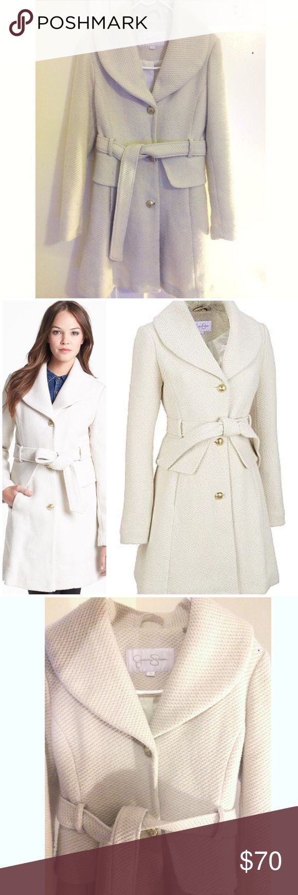 Jessica Simpson Wool blend Ivory Coat! Warm&cozy Jessica Simpson Wool blend Ivory Coat! Warm & cozy. Size M, true to size. Jessica Simpson Jackets & Coats Trench Coats