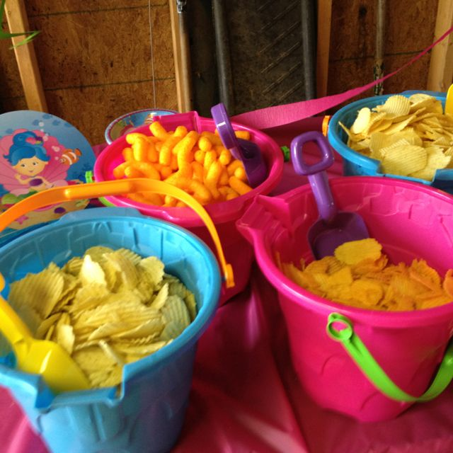 Use clean sandpails to put food in for a beach/swimming party. Use the shovel…
