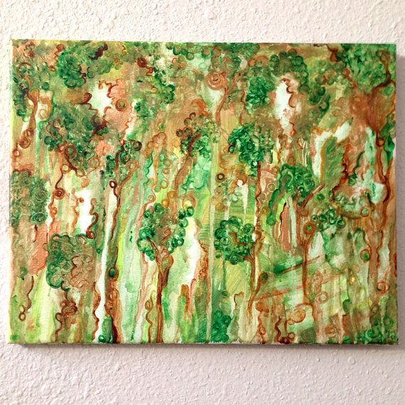 Abstract Green Forest, acrylic painting