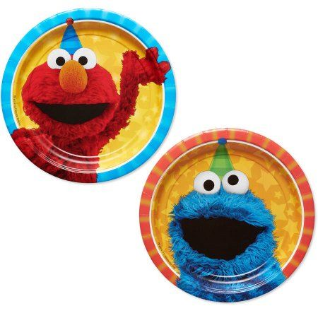 Sesame Street 7 inch Round Plate, 8 Count, Party Supplies, Multicolor