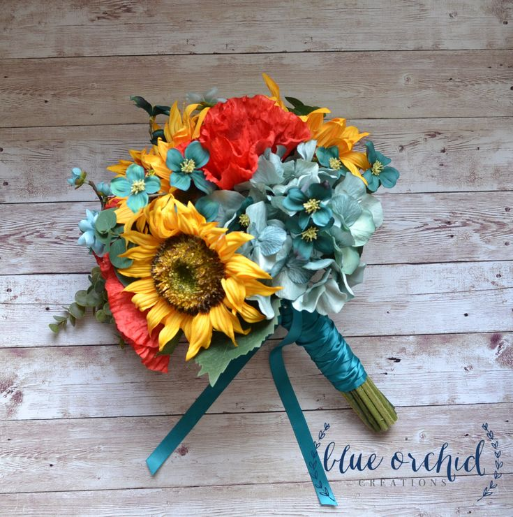 Sunflower Bridal Bouquet with Red Poppies, Teal, Turquoise Flowers, and Greenery - Fall Wedding Bouquet by blueorchidcreations on Etsy
