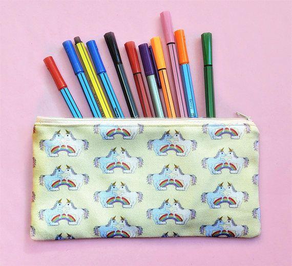 Unicorn pencil pouch  unicorn gift  unicorn zip pouch