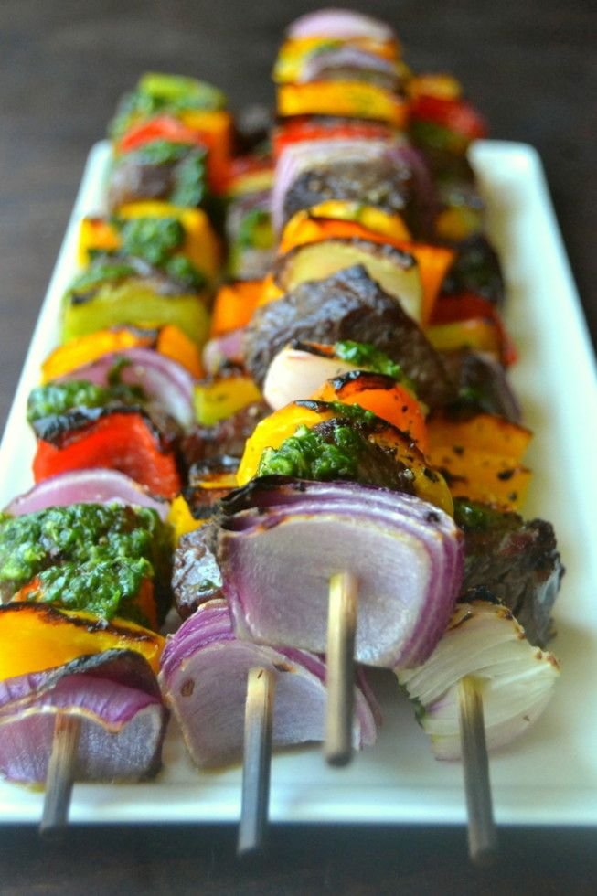 Steak Fajita Skewers with Cilantro Pesto - The View from Great Island