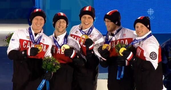 Canada's @TeamBradJacobs receives gold medals Sochi.
