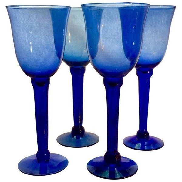 Vintage Cobalt Stemmed Wine Goblets - Set of 4 ($80) ❤ liked on Polyvore featuring home, kitchen & dining, drinkware, glasses, cobalt blue drinkware and glass drinkware