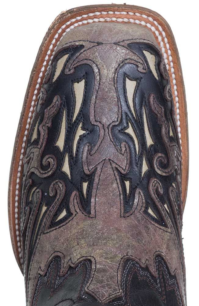 Corral Mens Square Toe Cowboy Boots- Black/Brown
