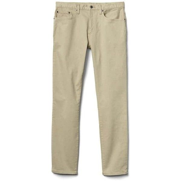 Gap Men Broken Twill Skinny Fit Jeans ($42) ❤ liked on Polyvore featuring men's fashion, men's clothing, men's jeans, khaki, tall, mens super skinny stretch jeans, mens stretch jeans, mens skinny jeans, gap mens jeans and mens zipper jeans
