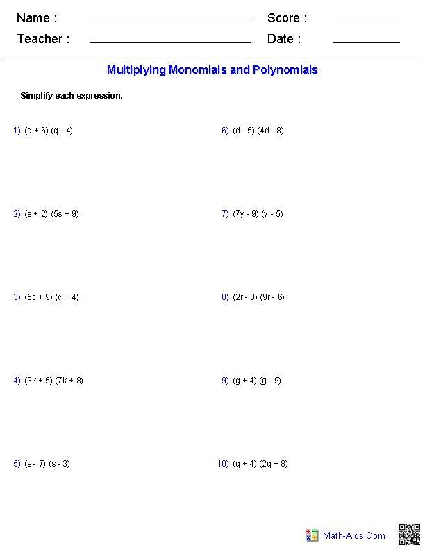math worksheet : adding polynomials worksheet generator  worksheets : Math Worksheet Generator Algebra