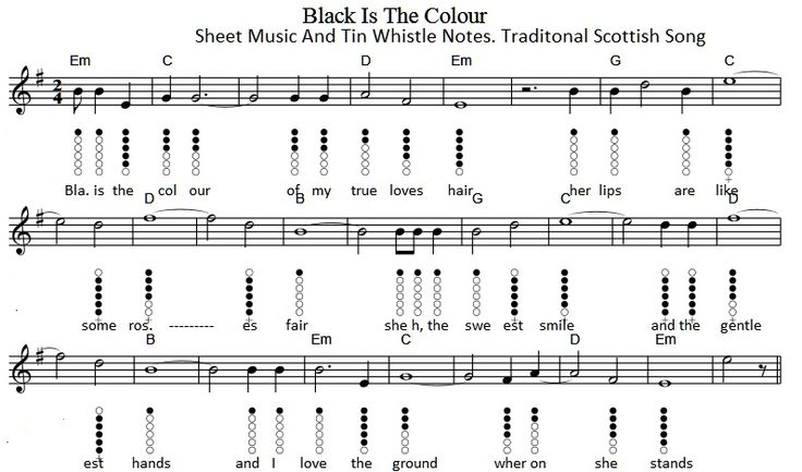 Black Velvet Band Whistle Music With Finger Chart Part 1 D Whistle