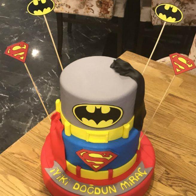 Batman ve Superman Tasarım Pasta • 1 Dakikada Sipariş Ver! • Bulvar Pastanesi    #pasta #cake #butikpasta #batman #superman