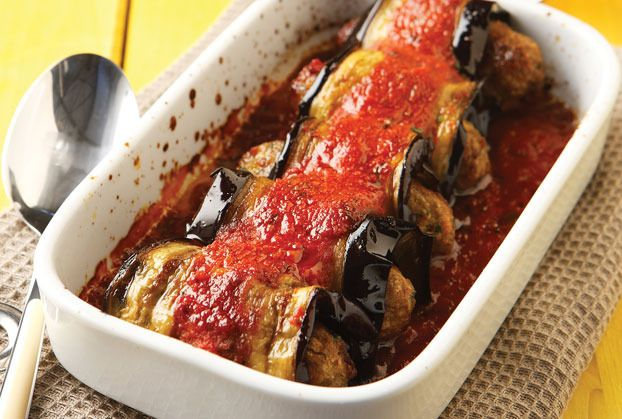 Stuffed Aubergine Rolls:  This delightful dish can easily be converted to vegetarian by swapping out meat with your favorite cheese filling (ie.. feta, kefalotiri, ricotta, or manouri).