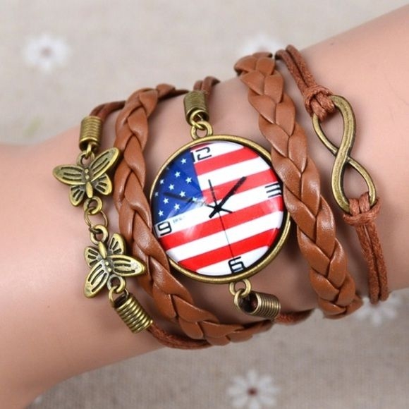 """Anerican Flag Pattern Watch bracelet Brand New - Proud to be American bracelet -the clock in the bracelet is just a pattern, it is not an actual watch - bracelet dimensions are 6.3x1.96"""" - chain is adjustable - Jewelry Bracelets"""
