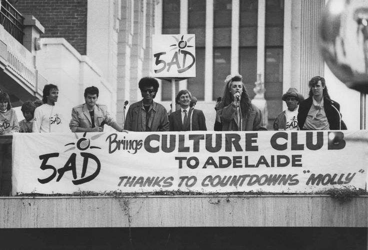Boy George and Culture Club in Rundle Mall, Adelaide. July 5, 1984. Also visible are Greg Clark (5AD radio station), Premier John Bannon and Molly Meldrum ... thanks to people power who petitioned as CC overlooked Adelaide for their concert tour (Marina M)