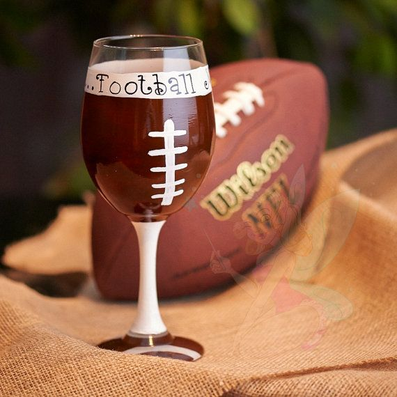 Football Mom hand painted Wine glasses by TheSparkleFairies, $18.00