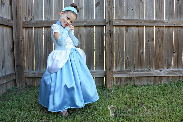 How to make a Cinderella dress without a pattern.  I'm torn because I'm not a Disney princess fan but my little girl is.  What choice do I have but to make her the most beautiful dress I can?  I would do some variations from this, but it's a start.