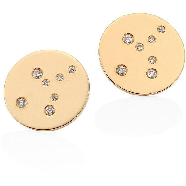 Bare Constellations Virgo Diamond & 18K Yellow Gold Stud Earrings (£990) ❤ liked on Polyvore featuring jewelry, earrings, gold stud earrings, yellow gold earrings, yellow gold diamond earrings, gold disc earrings and post earrings