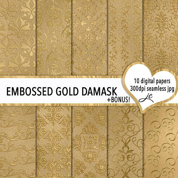 Embossed Gold Damask Digital Papers  BONUS Photoshop Pattern