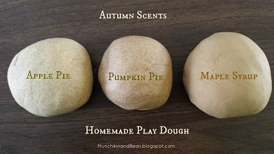 Munchkin and Bean: Autumn Scented Play Dough -- apple pie, pumpkin and maple = brilliant! For more sensory related pins, visit the SPD Blogger Network boards here: @SPDBN