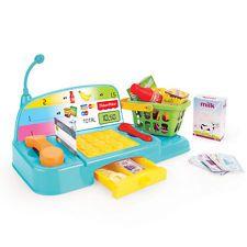 Fisher Price Crianças Brinquedo Caixa Registradora Compras checkout até dinheiro comida jogar papel