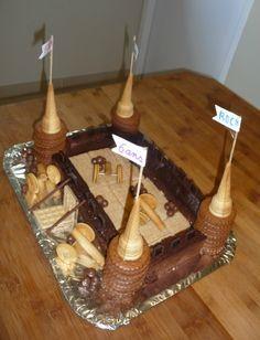 Gâteau chateau-fort pour l'anniversaire fêté à l'école