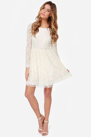 Beautiful Lace Dress - Cream Dress - Skater Dress - $84.00