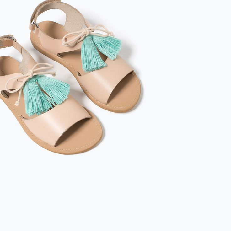 LEATHER POMPOM SANDALS View All SHOES GIRL