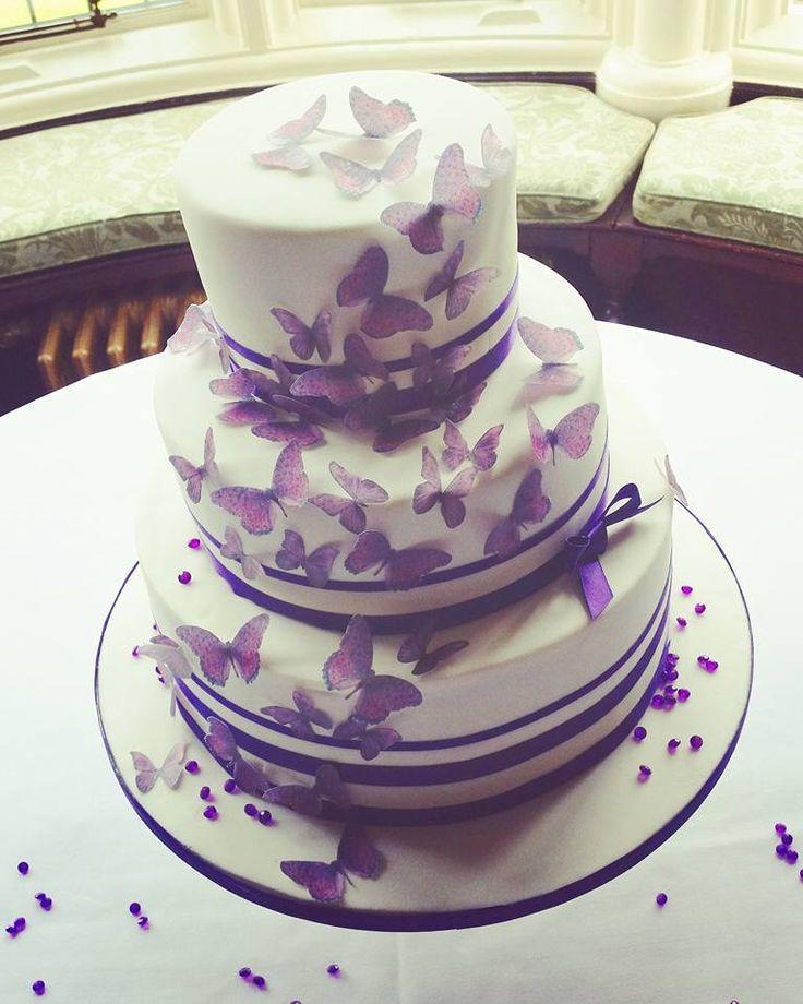 Cadbury Purple Butterfly Wedding Cake