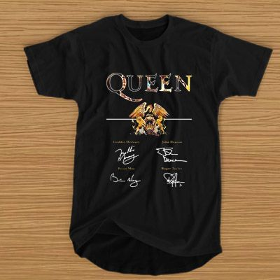 05b77c102a3195 Queen Band Royal Crest Freddie Mercury signature T-SHIRT For Men and Women