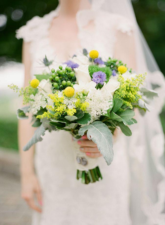 Yellow, white and purple bouquet | Irish Inspired Wedding at Tir Na Nóg Estate Lake Villa by Brosnan Photographic