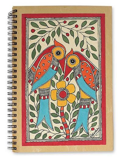 Madhubani Hand Painted Journal Handmade Paper 40 Pages - Flirting Peacocks | NOVICA