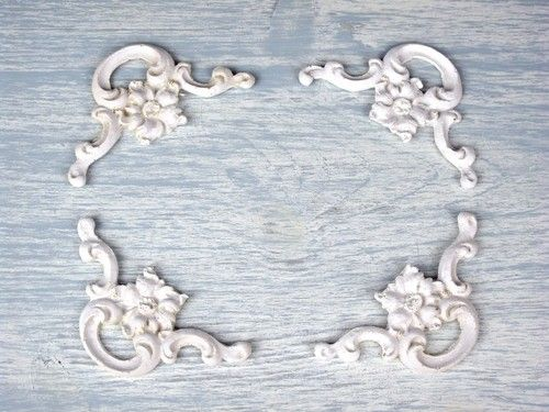 Set 4 shabby chic decorative moulding white corners trim for Decorative millwork accents