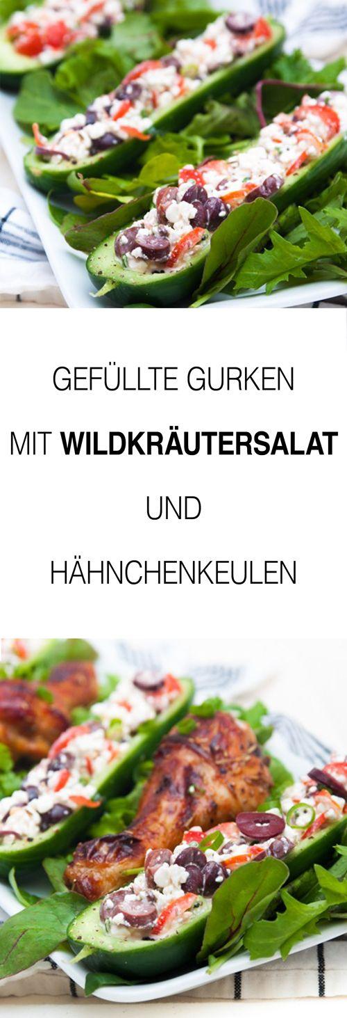 Salat Rezepte kann man nie genug haben. Wie wäre es mit einem Gurkensalat und Wildkräutersalat Rezept der etwas anderen Art, nämlich gefüllt. Dazu gab es bei mir leckere Hähnchenschenkel.