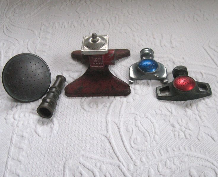 sprinkler head . squarespray sprinkler . brass nozzle . lot of 5 . 5 metal rustic watering implements by vintagous on Etsy