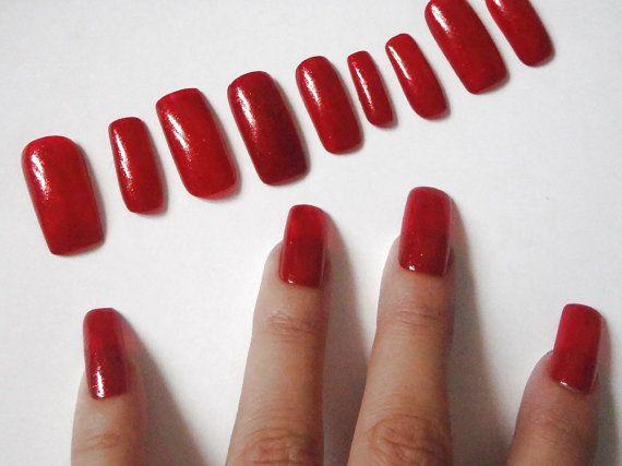 unghie finte rosso glitter nail art unghie artificiali smalto rosso glitter halloween natale capodanno trending squadrate lasoffittadiste
