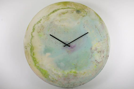 Extra Large wall clock Modern Glass Art by ReformationsGlassArt