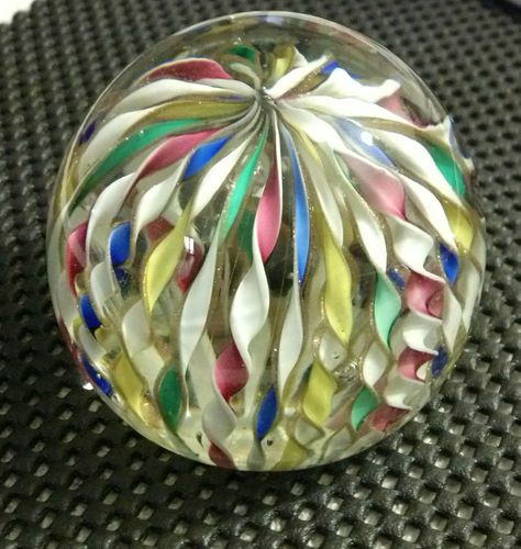 Breath Taking Ribbon Style Vintage Murano Glass Paper Weight RARE Lutz 3 Inch | eBay