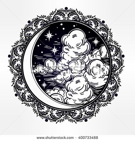 Intricate hand drawn ornate crescent moon with stars and clouds. Isolated Vector illustration.Tattoo art, astrology, spirituality, alchemy, magic symbol. Ethnic, mystic tribal element for your use.