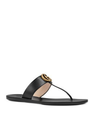 e92e01a117ad Gucci Women s Marmont Leather Thong Sandals