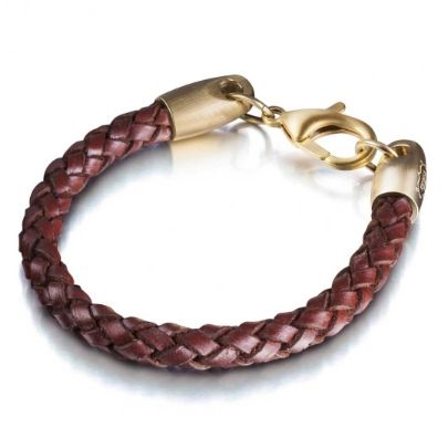 Shimla Gold Plated Unisex Brown Leather Plaited  Bracelet SH265. The leather bracelet by Shimla is an alternative piece of jewellery to add to your collection. The unique plaited design is beautifully finished with a stainless steel lobster claps.