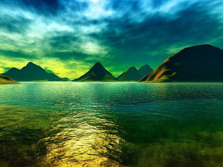 De blauwgroene kleuren van water en lucht