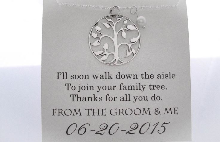 "I got this for my MIL, but had it say ""I'll soon walk down the aisle To join your family tree. Thank you for raising the man of my dreams! Love, the Bride to Be."" Mother of The Groom Necklace - Mother of the Groom Gifts - Family Tree - Wedding Gifts - Wedding Jewelry - Mother of the Groom Presents by WearableWhispers on Etsy https://www.etsy.com/transaction/1125229375"