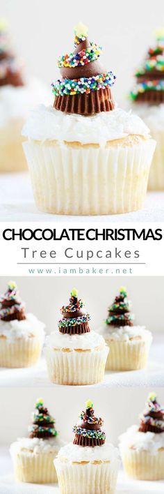 Here's one of the best homemade chocolate cupcake recipes you can do this Christmas- Chocolate Christmas Tree Cupcakes! A delicious Christmas sweet treat yet fun and easy to make. Your kids will definitely fall in love with Hershey's Kisses and Miniature Reese's Peanut Butter Cups on top of this amazing cupcake recipe! For more quick and easy dessert recipes to make, check us out at #iambaker.  #christmasdesserts #desserts #sweettooth