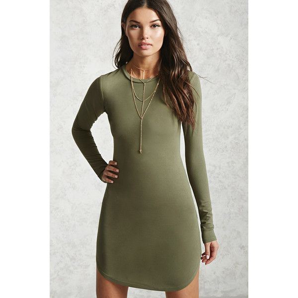 Forever21 Dolphin Hem Bodycon Dress ($15) ❤ liked on Polyvore featuring dresses, light olive, long sleeve body con dress, army green dress, long sleeve dresses, long-sleeve maxi dress and long sleeve full length dress