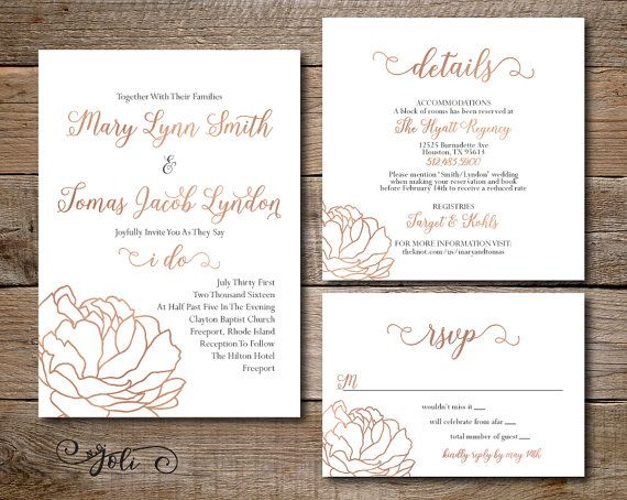 Printable Rose Gold Wedding Invitation,RSVP & OPTIONAL Reception Card-Print Yourself-Digital File