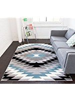 "Dusky Mesa Grey & Blue Southwestern Modern Classic Geometric Medallion Area Rug 5 x 7 ( 5'3"" x 7'3"" ) Easy Clean Stain Fade Resistant Shed Free Contemporary Thick Soft Plush Living Dining Room"