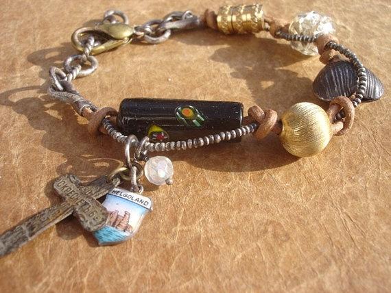 Helgoland's Sterling Silver & Vintage Brass Sacred BoHEmian Treasure Bracelet
